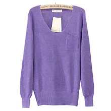 New Womens Knitted V Neck Pockets Lady Casual Loose Pullover Girl Sping Sweater Clothes Pocket Decoration Clothes
