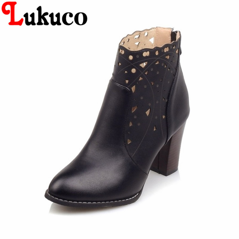 2017 fashion style Pointed Toe lady shoes size 34-46 Square heel Ankle Boots high qualit ...