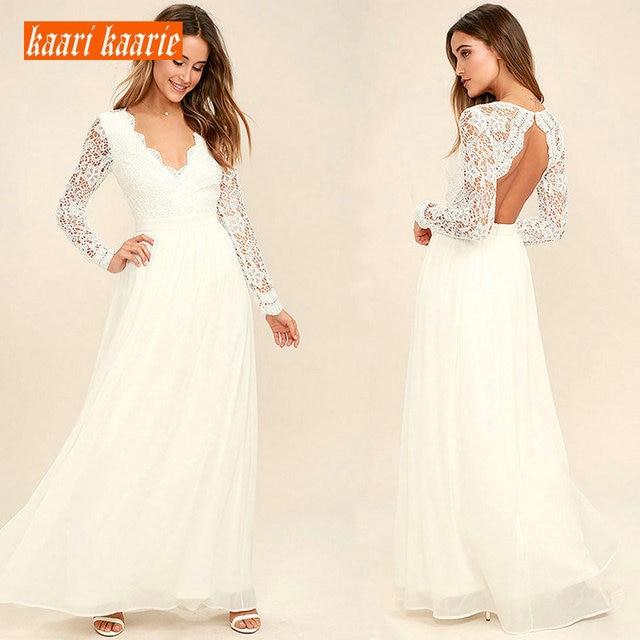 Stylish Ivory Long Wedding Dress 2019 Sexy Wedding Gowns For Women V-Neck Lace Backless Chiffon A-Line Cheap Lady Bridal Dresses