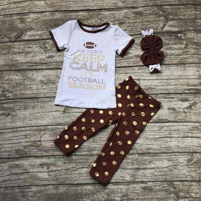 Futebol das meninas clothingbaby meninas nós cann't manter a calma é a temporada de futebol outfits crianças polka dot ouro pant com headband
