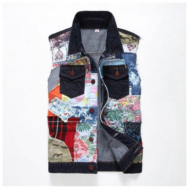 2016 Denim Blue Jean Vest Men Brand Coats Patchwork Male Cowboy Waistcoat Brand Man Sleeveless Jacket Clothing Spring Autumn