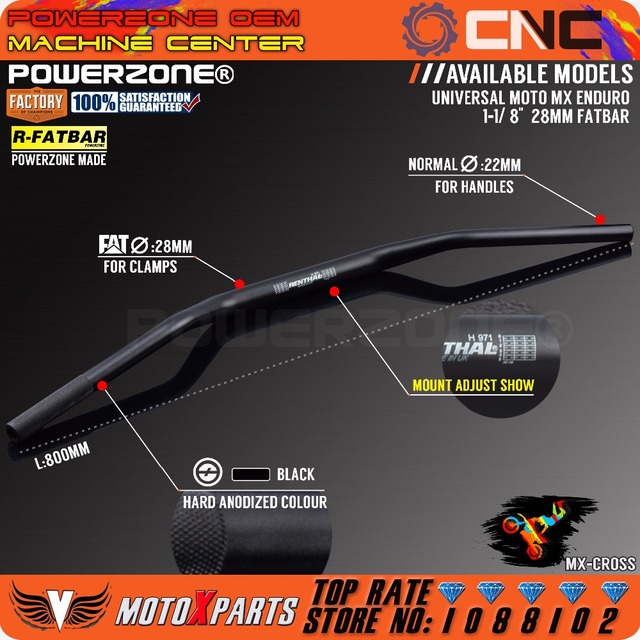 "Manubrio nero da 1 1/8 ""Fat Bar 28mm manubrio per moto Motocross Pit Dirt Bike ATV KTM CRF YZF KLX RMZ EXC"