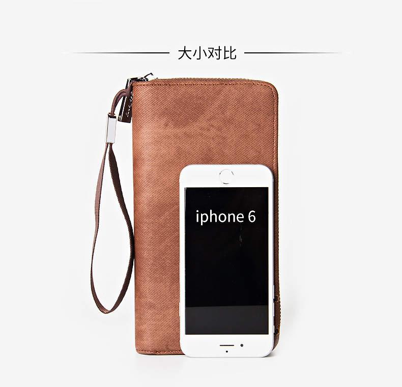 Newest style mens long high quality PU leather zipper Retro vintage wallets purse clutch for man with Wrist strap S1514