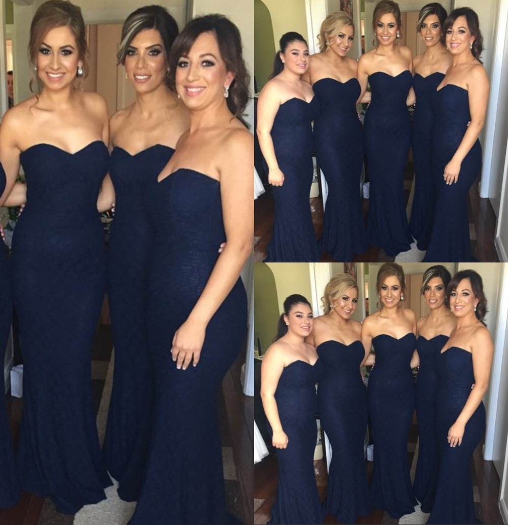 Hot Dark Navy Blue Sweetheart Lace Bridesmaid Gowns Ivory Champagne Silver  Hunter Pink Red Lace Bridesmaid Dresses Fast Shipping-in Bridesmaid Dresses  from ... 21322cf77fae