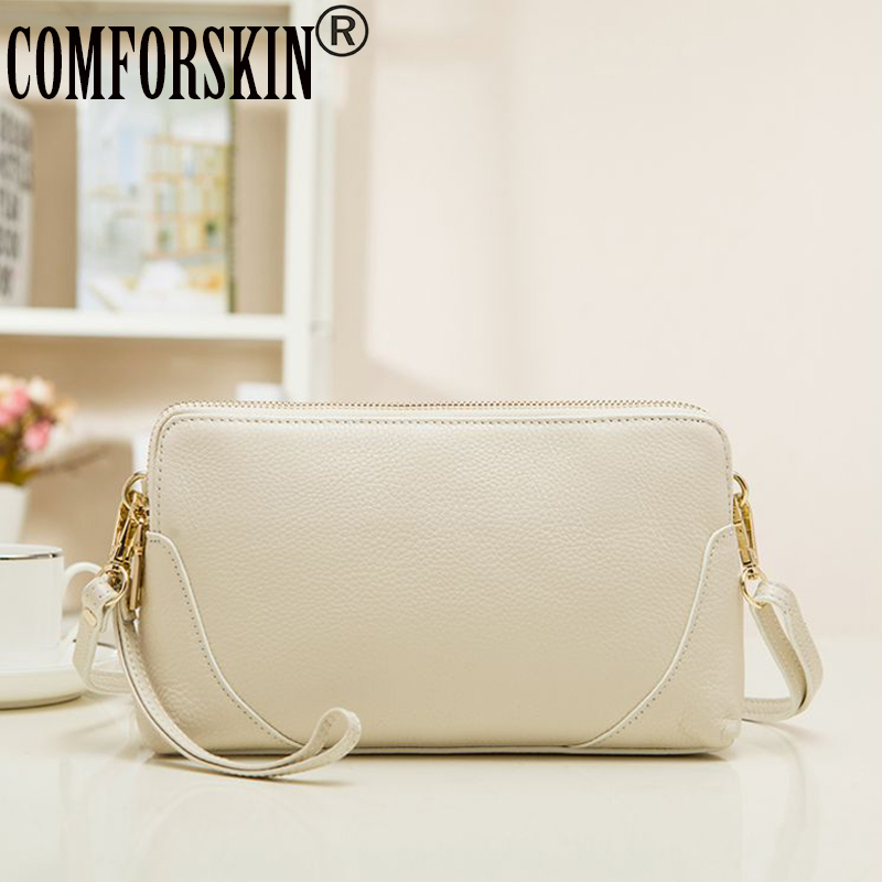 COMFORSKIN Brand Feminine Top Flap Quality Day Clutches 100% Genuine Leather Messenger Bag Women Bags Ladies' Clutch Bags 2017