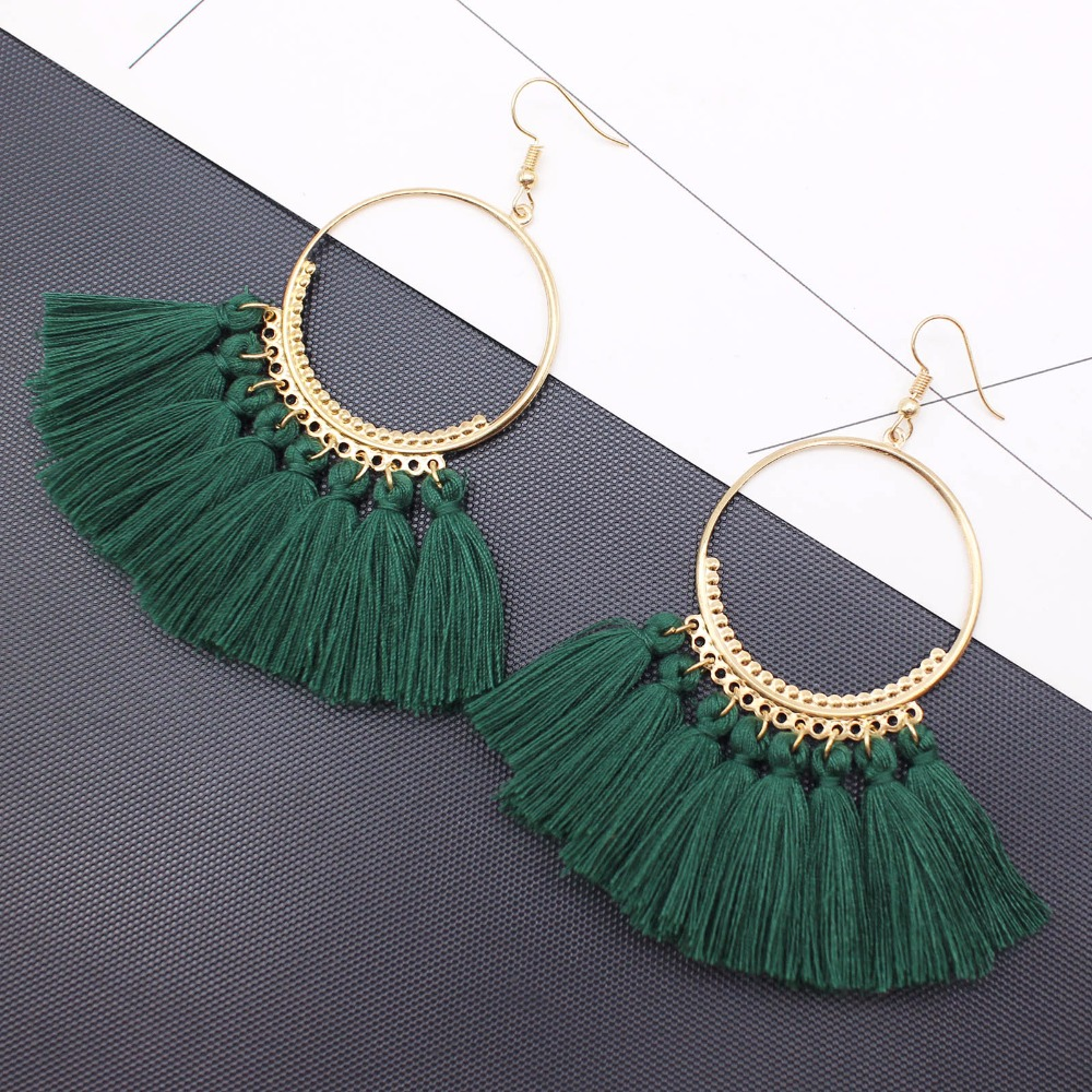 19 Colors round dangling pendant Drop earrings woman fabric tassel earring ethnic bohemian fantasy fringed boucles d'oreille 2