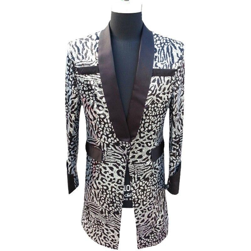 Long Jacket Men Sequin Blazer Men Club Party Singer DJ Host Stage Clothing For Men Suit Jacket Coat Blazer Masculino Plus 5xl