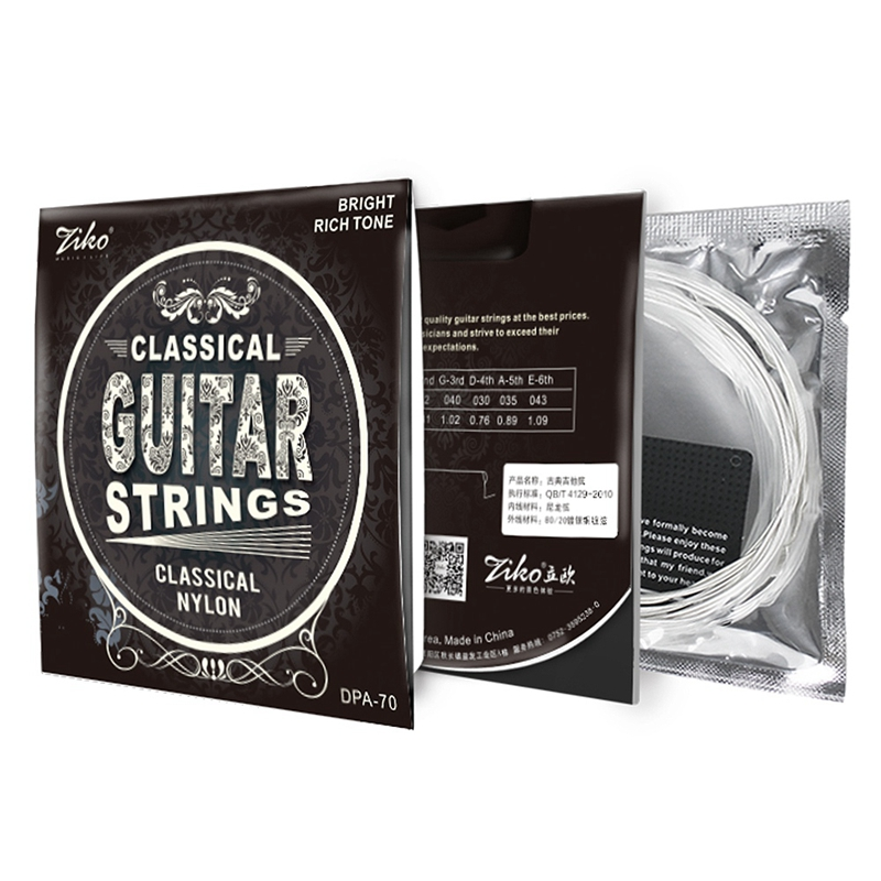 Ziko Dpa-70 Classical Guitar Strings Nylon Core Silver Plated Copper Wound High Tension 2