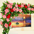 250 cm Falso Rosas De Seda Artificial Ivy Vine Flores com Folhas Verdes Para A Decoração Pendurado Garland Casamento Casa Decor
