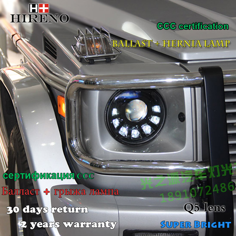 Hireno Headlamp for 1998-06 Mercedes-Benz W463 G500 G55 G63 G65 Headlight Assembly LED DRL Angel Lens Double Beam HID Xenon 2pcs hireno headlamp for mercedes benz w163 ml320 ml280 ml350 ml430 headlight assembly led drl angel lens double beam hid xenon 2pcs