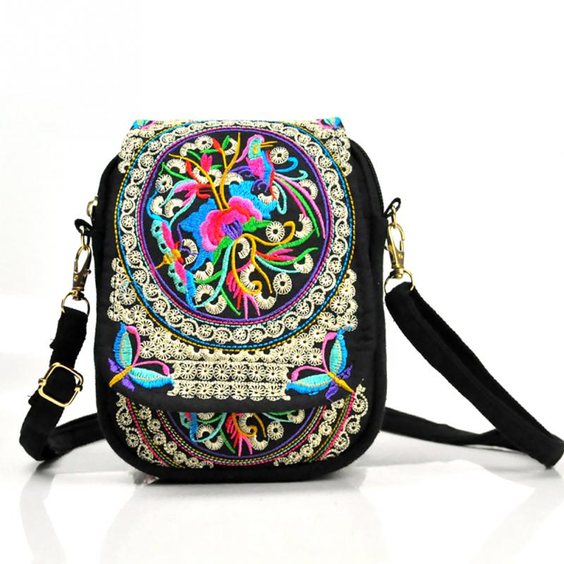 Bag Vintage Purse Messenger-Bag Canvas-Cover Ethnic Embroidery Small-Coins Shoulder Beach-Phone