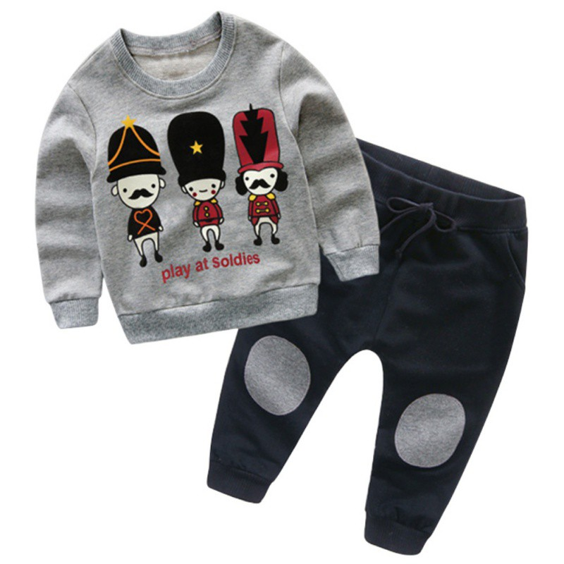 New Cute Baby Boy Girl Clothes Set Long Cartoon Pattern T-shirt+Long Pants 2 Pieces Set Kids Clothes New Boys Girls Clothes