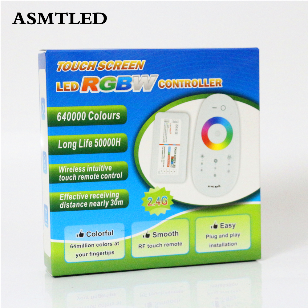 ASMTLED DC12V-24V 24A RGBW Controller Touch Screen 2.4G RF Wireless Remote Controller LED Dimmer For 5050 RGBW RGBWW LED Strip adda ad7512hb 7530 dc12v 0 24a