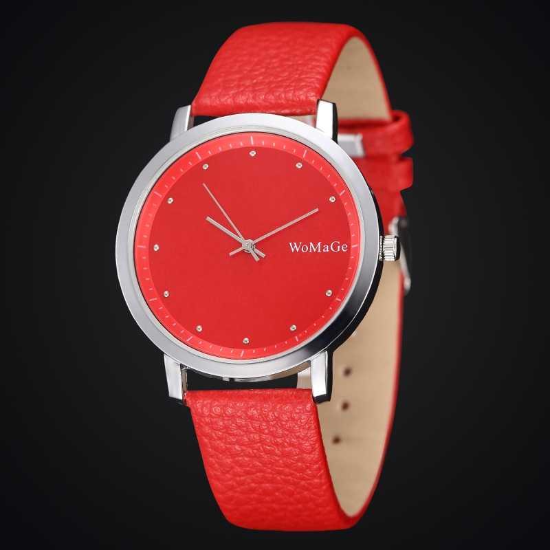 2020 yeni şık kırmızı kristal saatler deri kordonlu saat Analog kuvars Minimalist bayanlar Casual saat reloj mujer