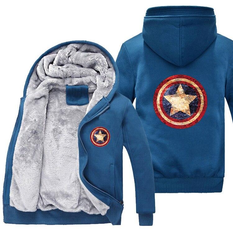 2019 moda Capitán América Hoodies hombres cálido Liner Marvel sudadera hombres Capitán América sudadera chaqueta de dibujos animados envío gratis-in Sudaderas con capucha y sudaderas from Ropa de hombre    1