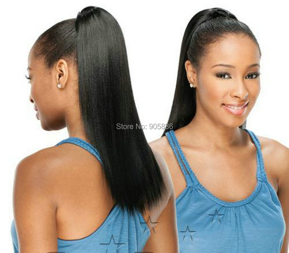 Beautiful and sleek ponytail style black yaki straight clip in beautiful and sleek ponytail style black yaki straight clip in human hair wrap around drawstring ponytails 100g in ponytails from hair extensions wigs on pmusecretfo Images
