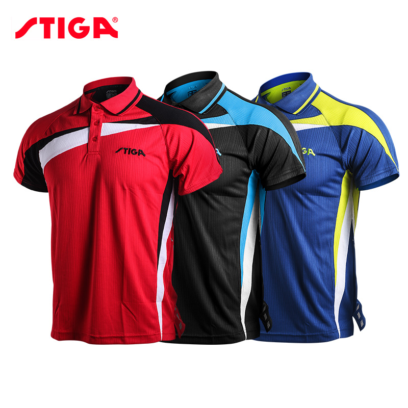 Stiga Sportswear Shirt Badminton Table-Tennis-Clothes Ping-Pong Men Short-Sleeved Quick-Dry