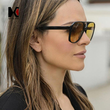 SHAUNA Fashion Double Colors Women Pilot Sunglasses цена