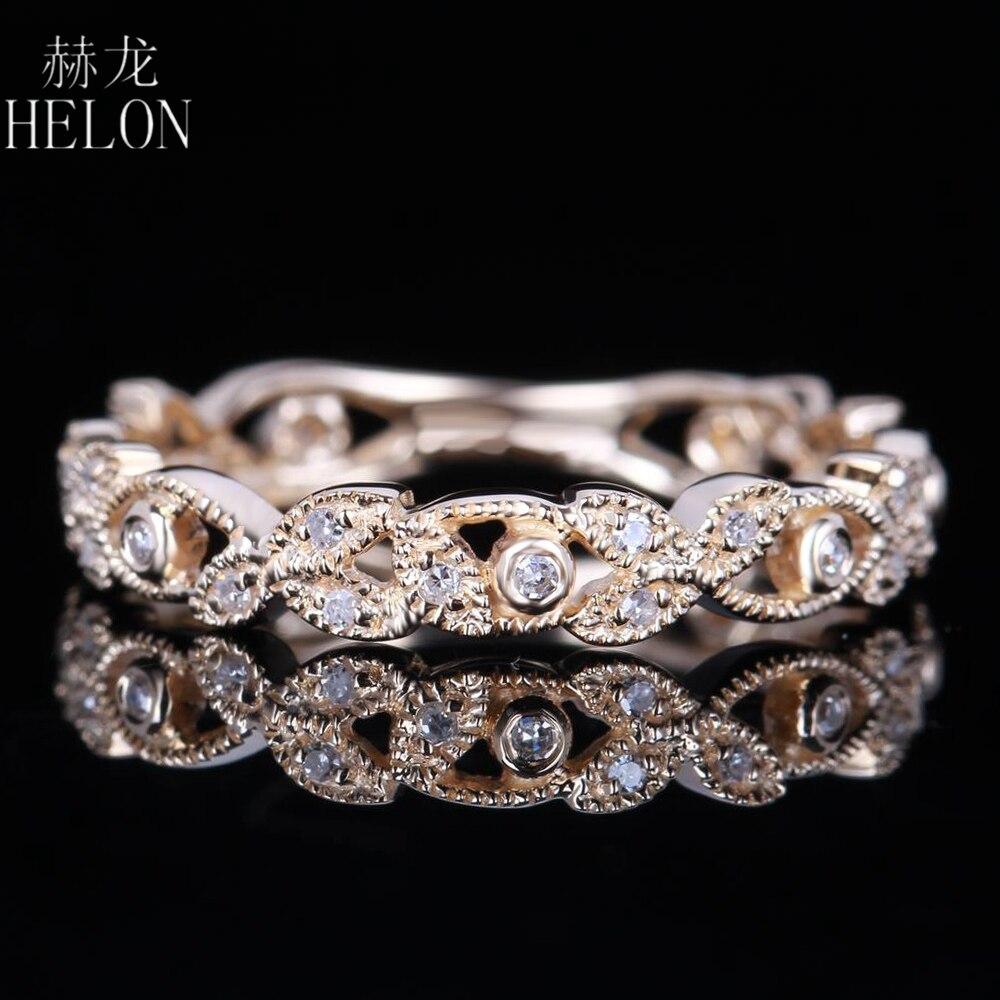 Helon Для женщин настоящие бриллианты группа Твердые 14 К желтого золота природных алмазов свадебный Обручение кольцо Юбилей Ювелирные украше