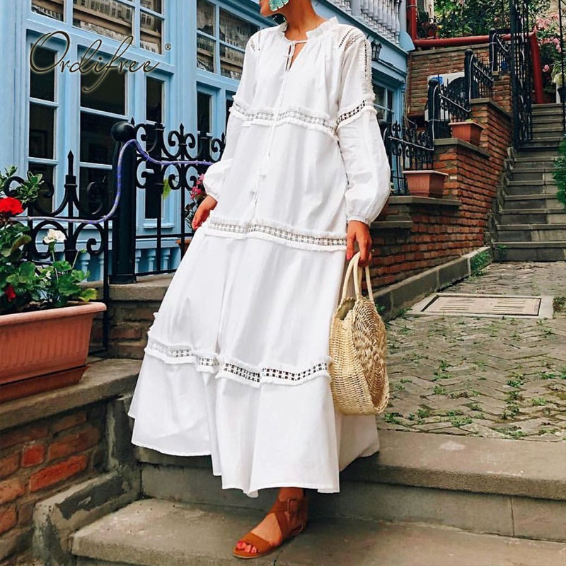 Ordifree 2020 Summer Women Boho Maxi Dress Cotton Loose Shirt Dress White Lace Tunic Beach Dress