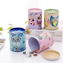 Hucha de hucha de búho Vintage, hucha de hojalata, regalo para niños, decoración para regalo de niño, hucha redonda, hucha, hucha, accesorios