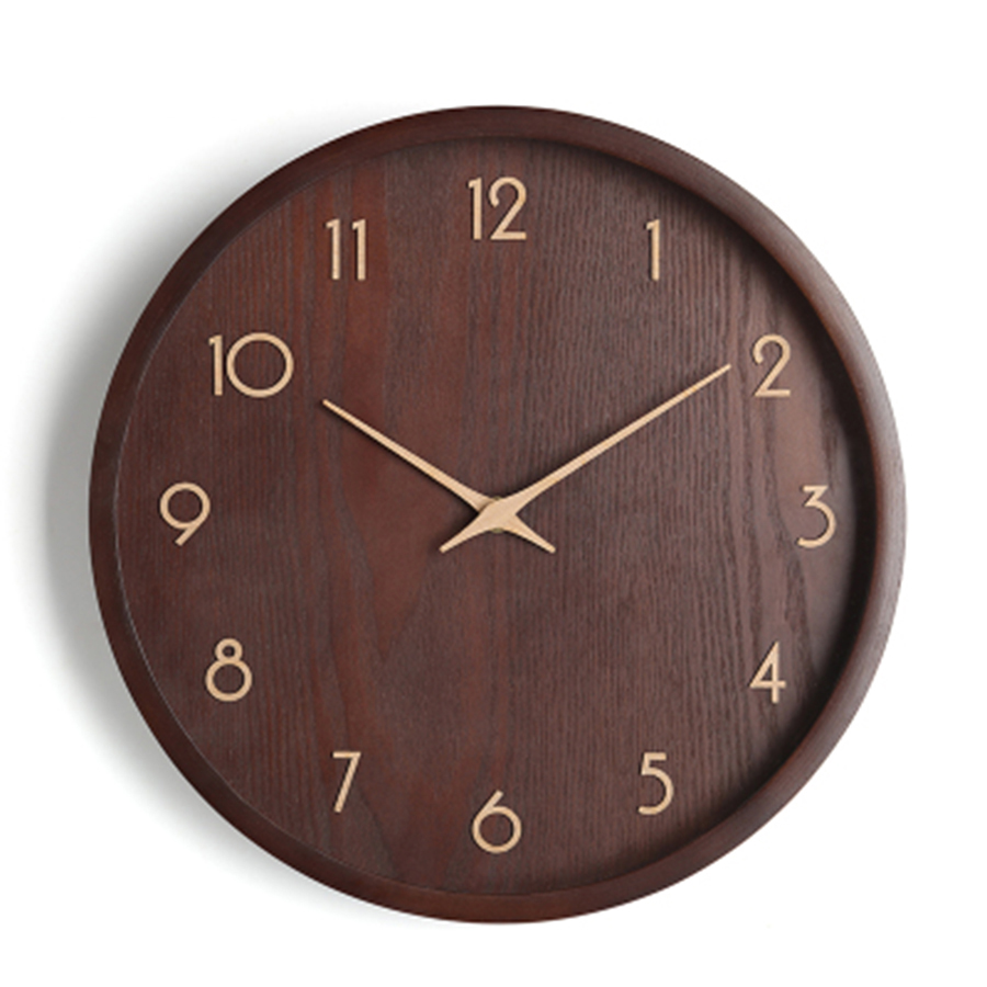 European Digital Wall Clock Stylish Solid Wood Wall Watch Living Room Decoration Mute Saat Home Decoration Accessories 50B1038