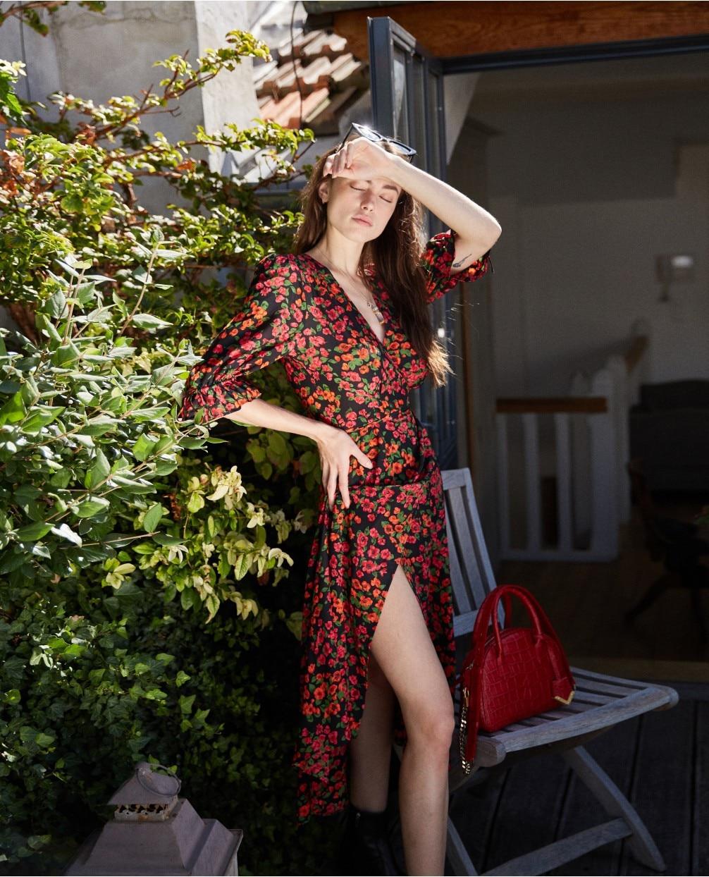 PIXY rouge imprimé Floral soie robes taille haute tunique chaîne robe femmes d'été col en V robes Midi za sukienka robe décontractée longue