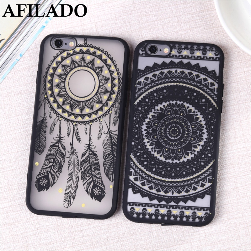 3D Relief Vintage Flower Matte Plastic Coque Cases Cover for iPhone 5s Silicone Mandala Phone Case