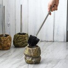 Cepillo para inodoro con forma de piedra clásica, Set creativo de Herramientas de limpieza, accesorios de decoración de cerámica para Baño