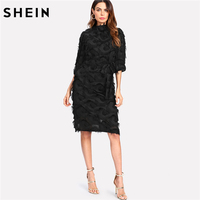 SHEIN Women Party Dress Stand Collar Half Sleeve Sheath Dress Black Belted Knee Length Layered Fringe