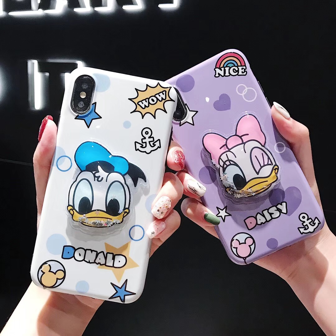 Love Japan cute Donald Duck case for iphone X XR XS MAX 7 8 6 6S plus dynamic liquid soft silicone phone cover coque image