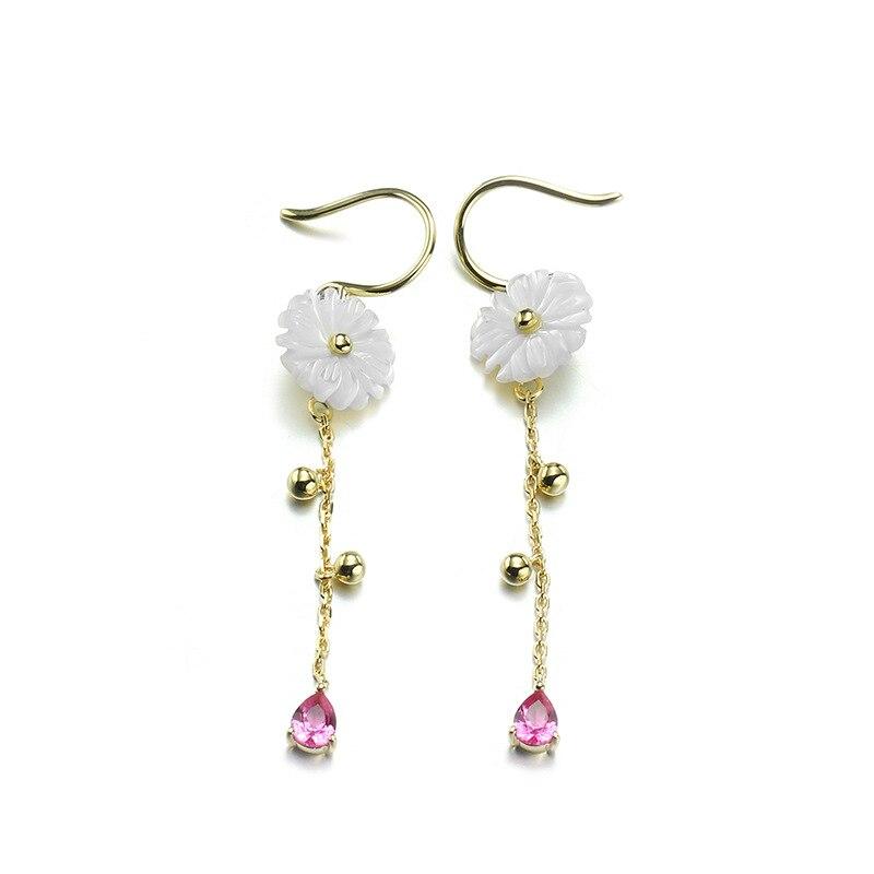 Bohême 9 K pur véritable or jaune coquillage Dangle boucles d'oreilles pour femmes fille fantaisie solide cristal goutte Fine anniversaire bijoux cadeau
