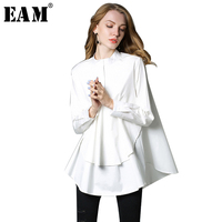 [EAM] 2018 new Spring stand collar long sleeve solid color black white asymmetry loose big size shirt women fashion tide C0061
