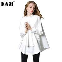 [EAM] 2018 nowa Wiosna stoisko kołnierz z długim rękawem solid color black white asymetria luźne duży rozmiar koszuli kobiet mody fala C0061