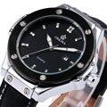 Luxury Watches men ORKINA 2017 Top Brand quartz Watch Black Geniune Leather Band Sports Silver Case clock HB Design Wristwatch
