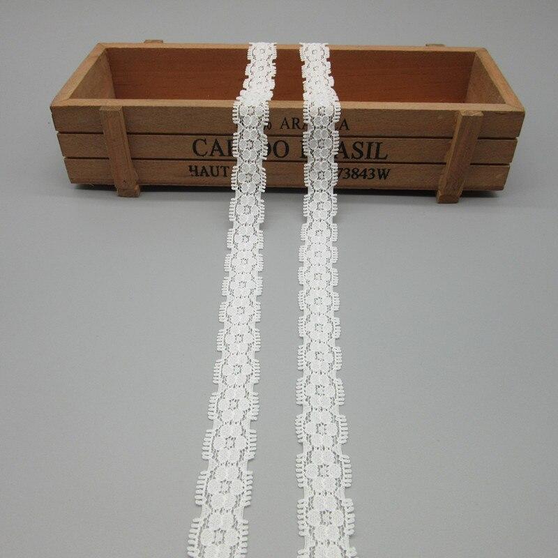 Красивые 10 метров Высокое качество белый эластичного кружева лента 17 мм Ширина костюм DIY украшения кружева, ткани для одежды оптовая продажа