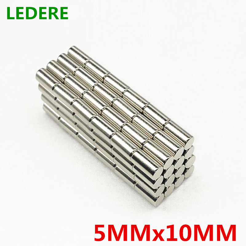 LEDERE 50pcs 5mm x 10mm Super strong round neodymium magnet 5x10 N35 rare earth permanent magnet 5mm*10mm powerful magnet 5*10 4 7 5mm neodymium nib magnet spheres with steel case silver 216 piece pack