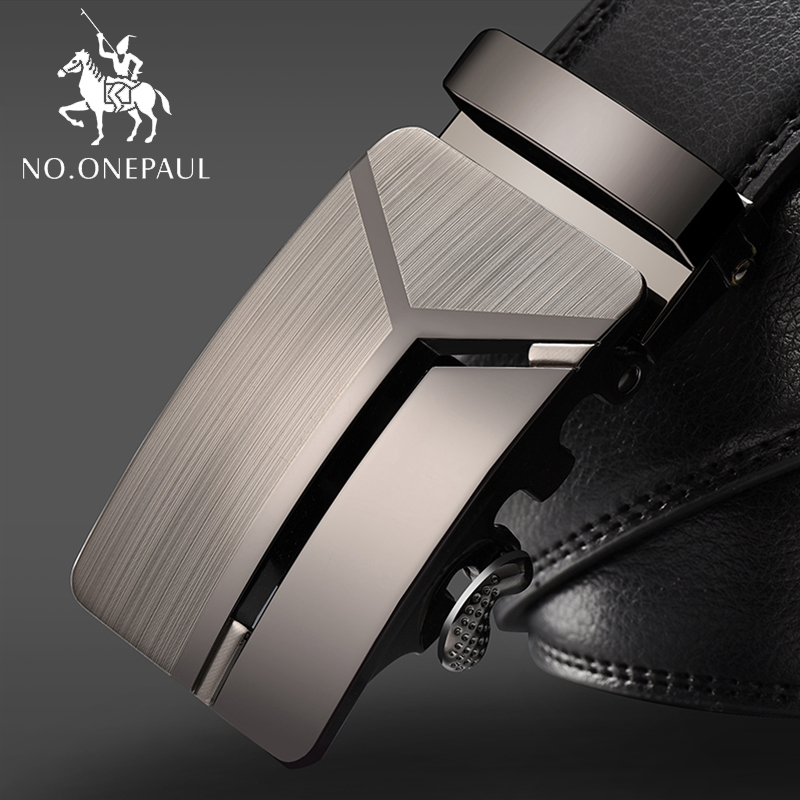 NO.ONEPAUL Men's Business Lengthened Belts, Fashion Men Casual Automatic Buckle Minimalist Design Leather Belt Coffee Belts