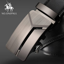 NO.ONEPAUL Mens Business Lengthened Belts, Fashion Men casual Automatic Buckle Minimalist Design Leather Belt Coffee Belts