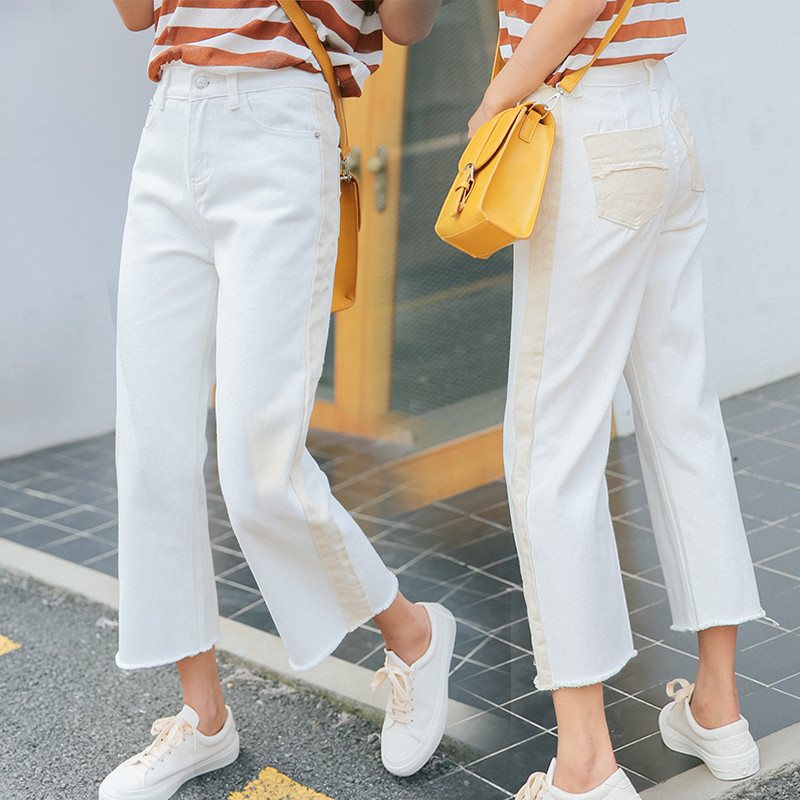 Women High Waist Denim Jeans Washed White Denim Ankle-length Pants 2017 Summer Loose Casual Trousers Women Pants summer casual women jeans high waist big hole ankle length ripped loose straight pants women denim trousers edge curl vintage