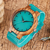 Luxury Royal Blue Wood Watch Top Quartz Wristwatch 100% Natural Bamboo Clock Casual Leather Valentine's Day Gifts for Men Women 2