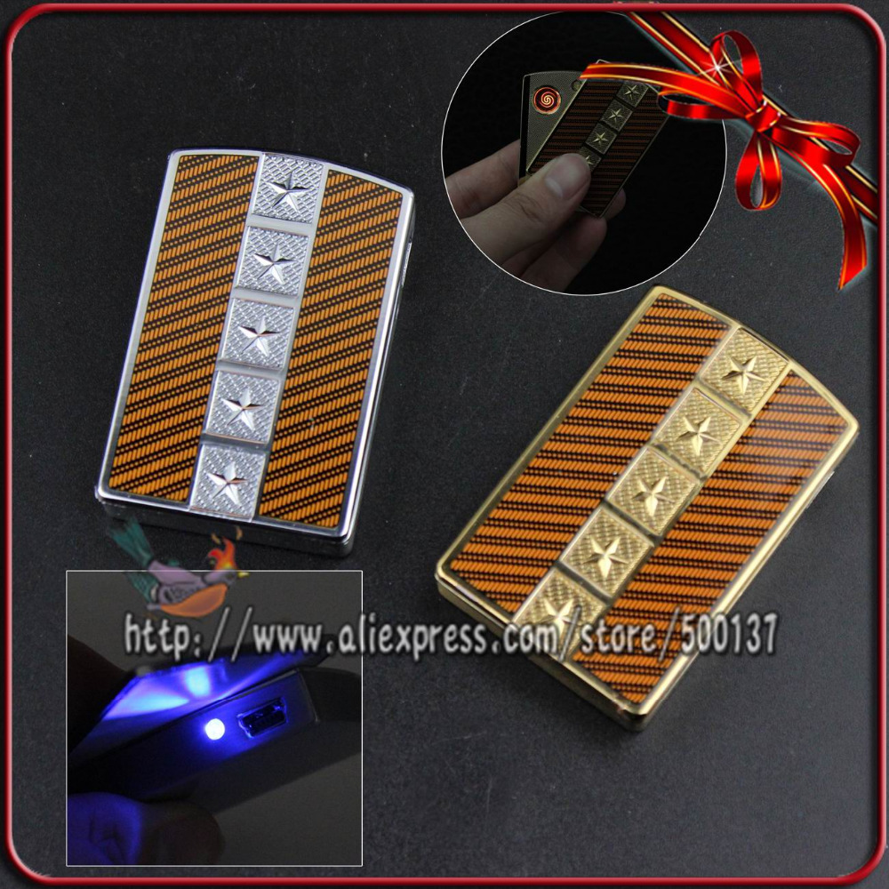 FIREDOG 2014 New Unique Five Star Design W LED Flameless Cigar Cigarette Rechargeable USB Electronic Lighter