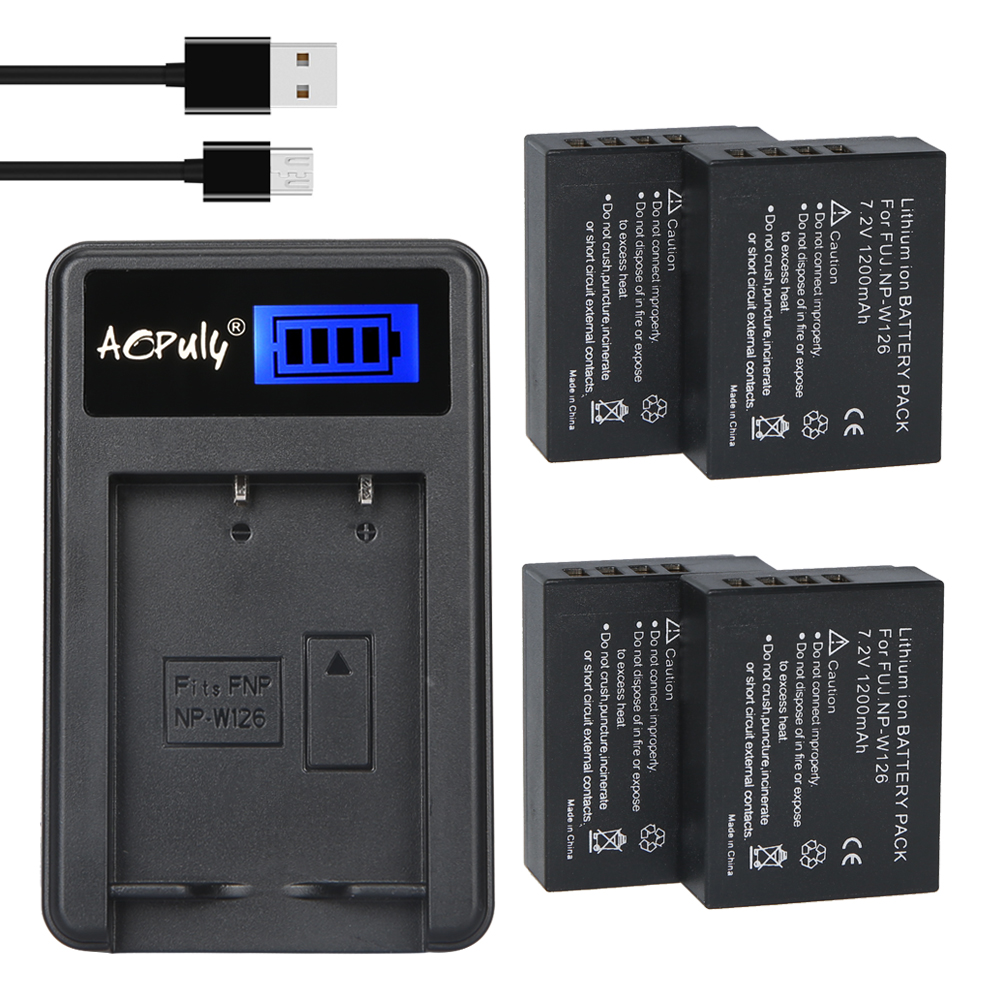 4Pcs 1200mAh NP-W126 NP W126 NPW126 Batteries + LCD USB Charger for Fujifilm Fuji X-Pro1 XPro1 X-T1 XT1, HS30EXR HS33EXR X PRO1 np w126 1600mah 7 2v rechargeable li ion battery camera battery pack for fuji finepix hs30exr hs33exr