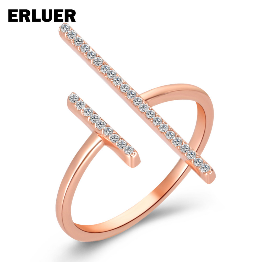 ERLUER Brand Adjustable jewelry Rings Fashion silver rose gold color Crystal cz zircon wedding Finger Ring For Women girls Bague title=