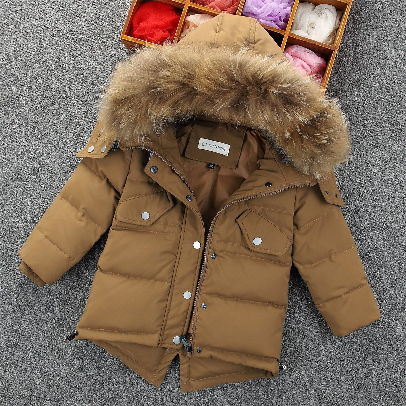 New Winter Duck Down Coat For Boys Fashion Fur Hooded Thick Cotton Padded Warm Jacket Long-sleeved Children's Clothing Outwears russia winter boys girls down jacket boy girl warm thick duck down