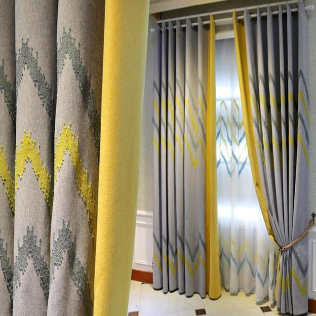US $25.0 21% OFF|European North style Splice Embroidered linen curtains for  bedroom Imitation gray yellow geometric curtains for living room-in ...