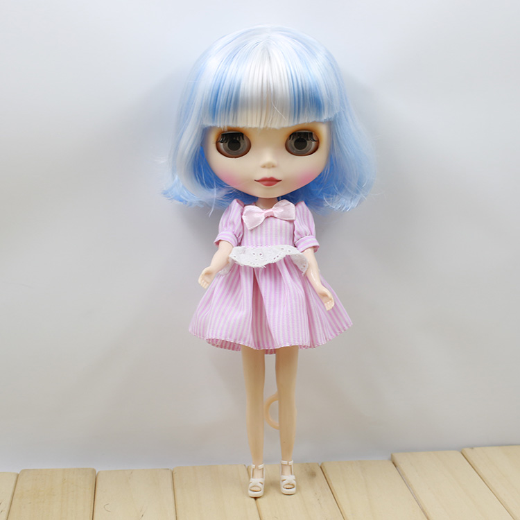 short hair, white mix blue hair normal body nude doll blyth matte face 130BL1366005, 1/6 doll, 30cm nude doll ayanami rei blue hair 6203