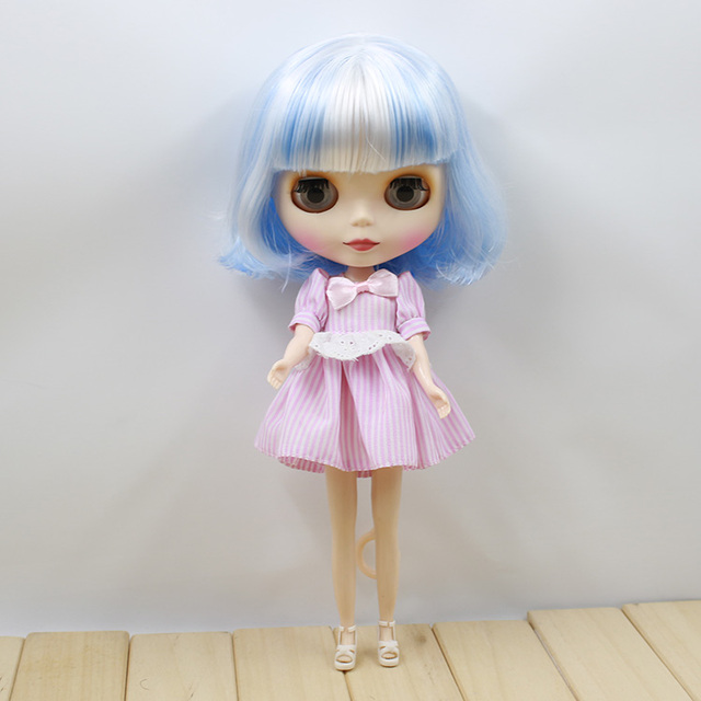 ICY Neo Blythe Doll Short White Blue Hair Regular Body