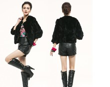 leather real fur  coat Rabbit top