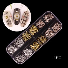 12 Patterns/Box Rose Gold Plated 3D Nail Decoration Hollow Metal Studs Manicure Nail Art Decorations